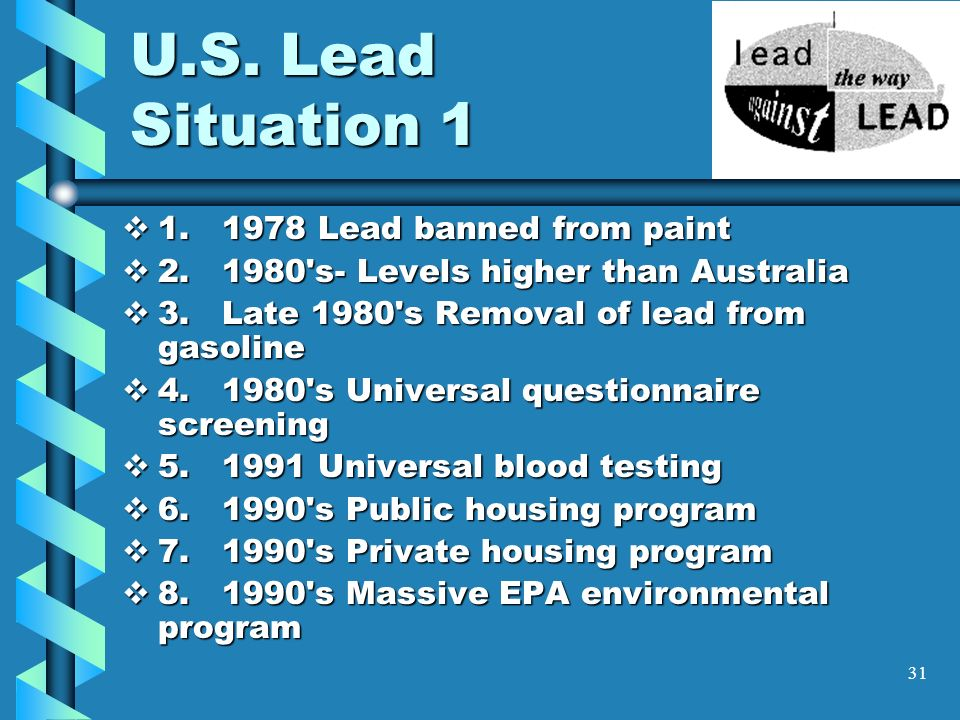 U.S. Lead Situation 1 1. 1978 Lead banned from paint