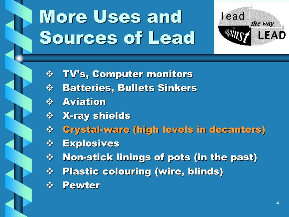 More Uses and Sources of Lead