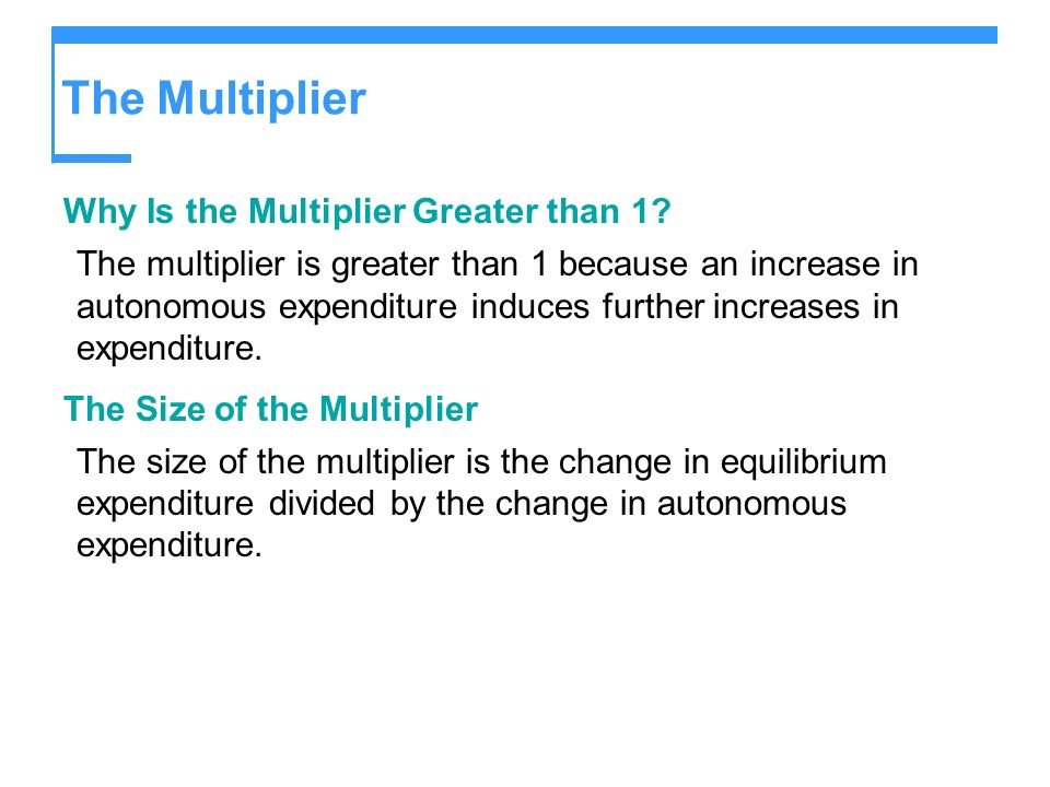 The Multiplier Why Is the Multiplier Greater than 1