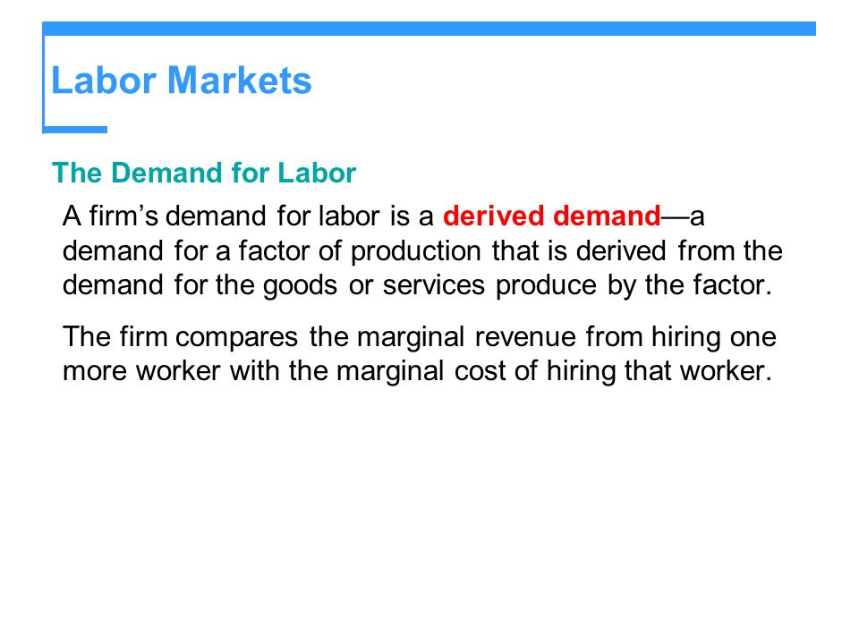 Labor Markets The Demand for Labor