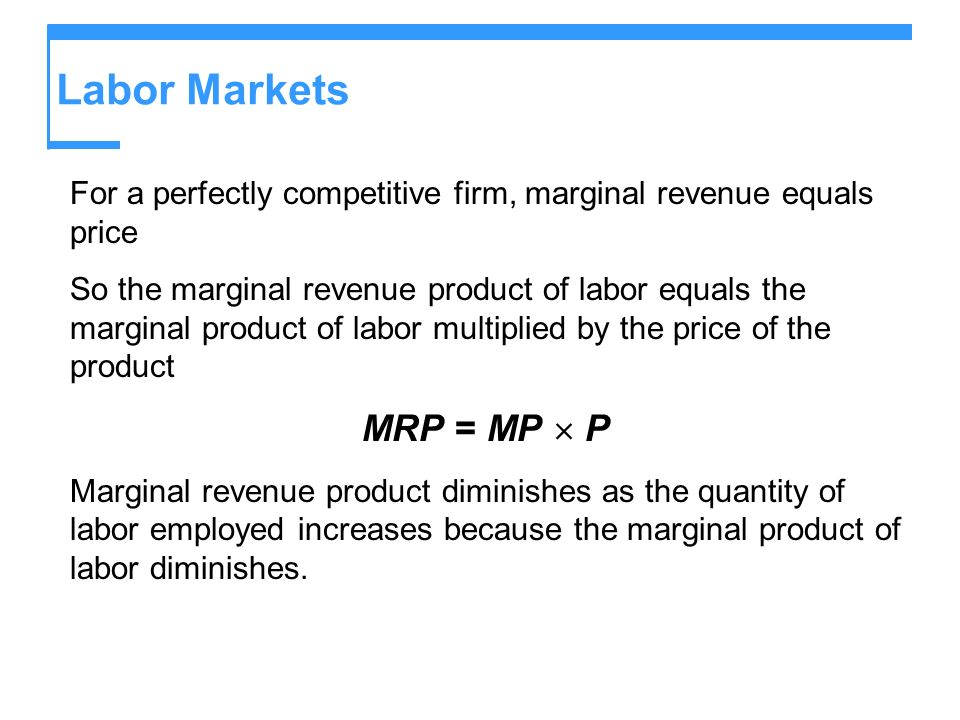 Labor Markets MRP = MP  P