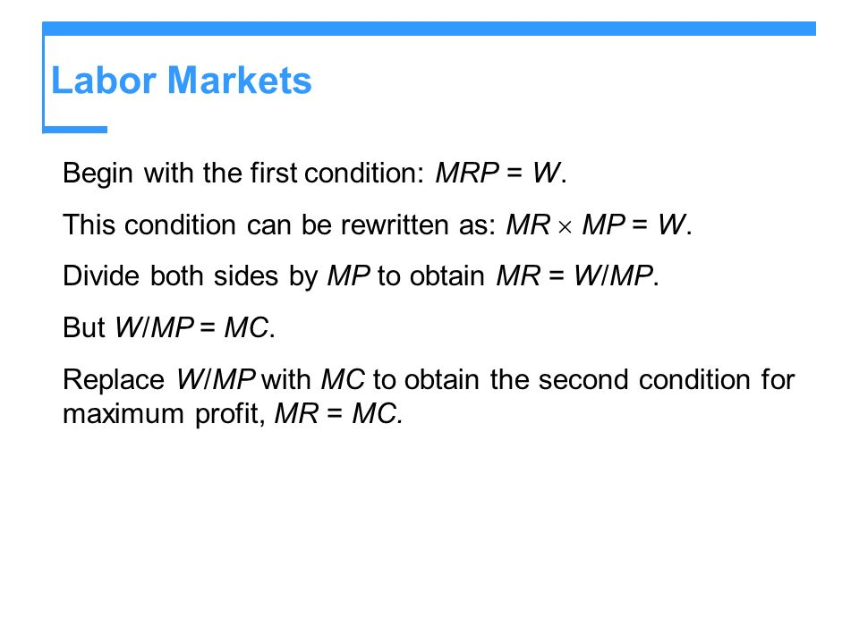 Labor Markets Begin with the first condition: MRP = W.