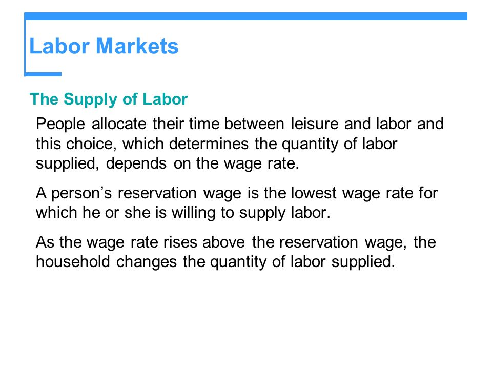 Labor Markets The Supply of Labor