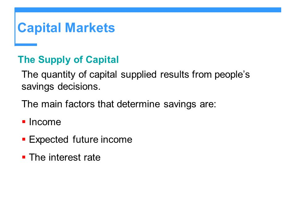 Capital Markets The Supply of Capital