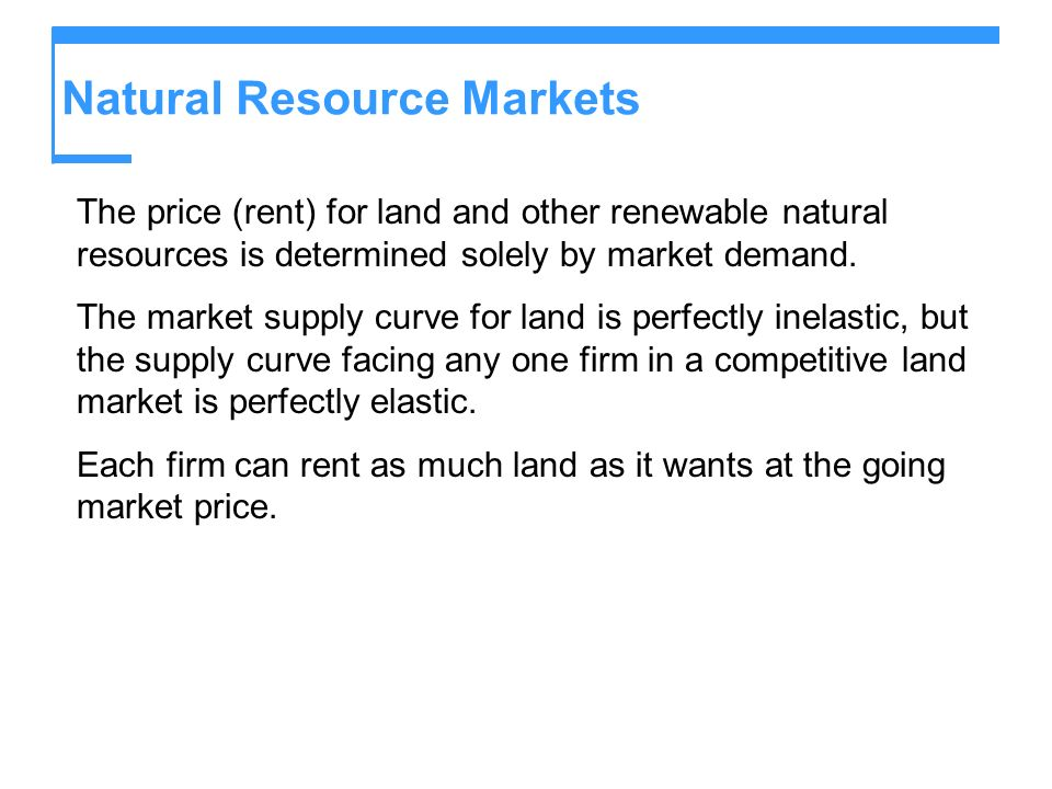 Natural Resource Markets