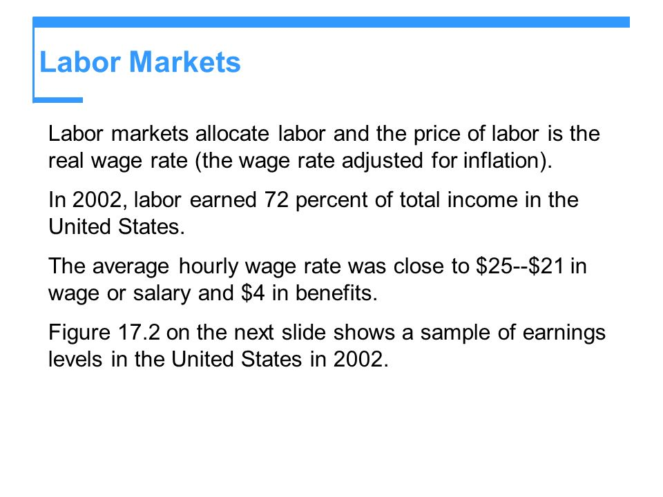Labor MarketsLabor markets allocate labor and the price of labor is the real wage rate (the wage rate adjusted for inflation).