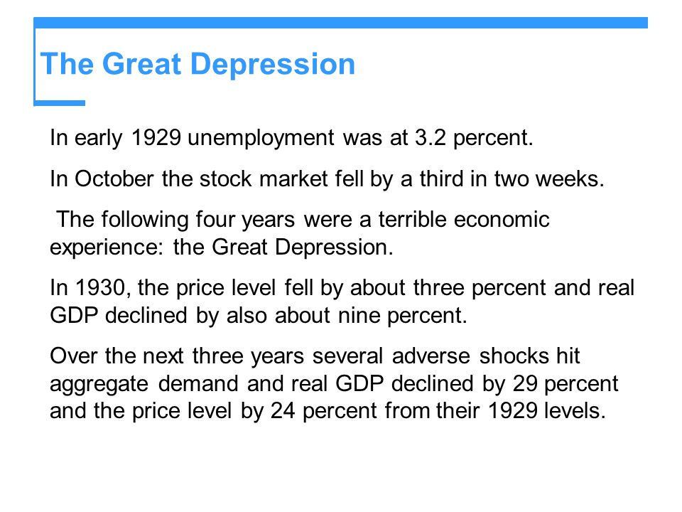 The Great Depression In early 1929 unemployment was at 3.2 percent.