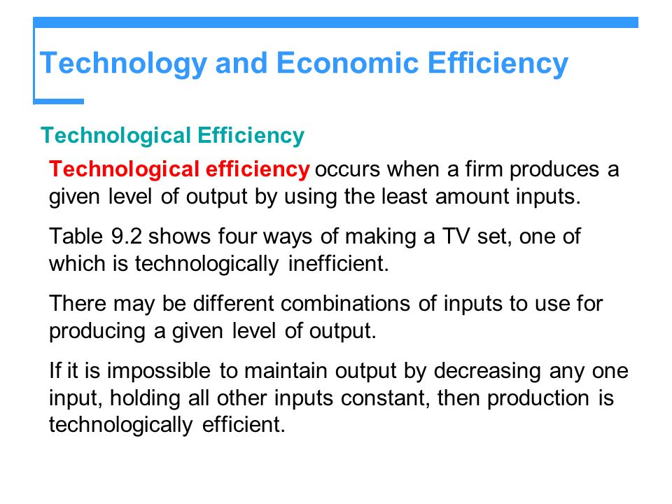 Technology and Economic Efficiency