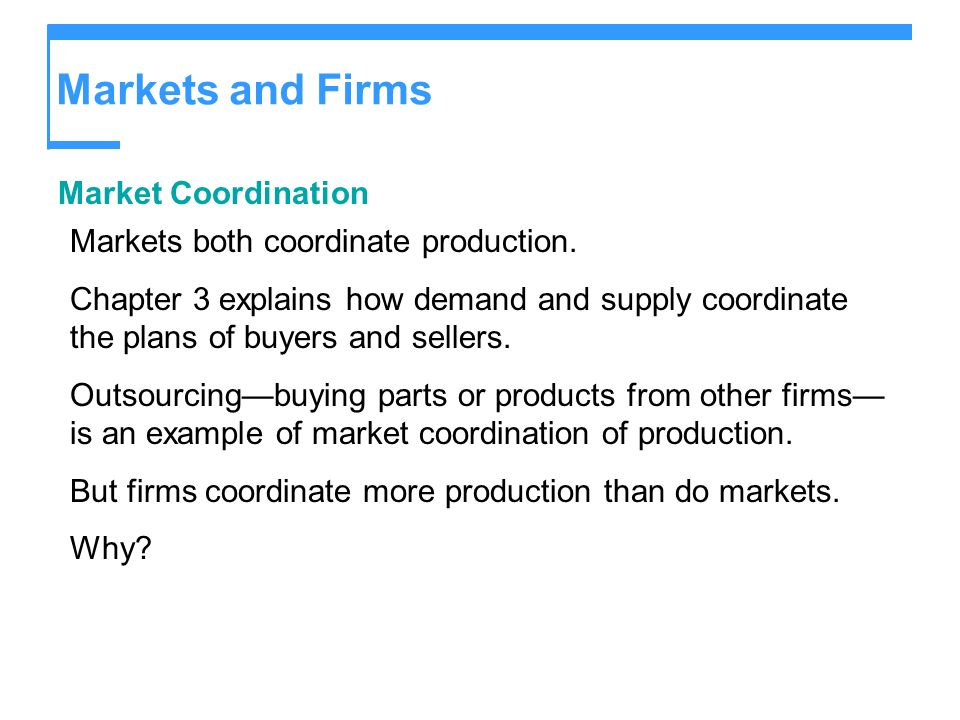 Markets and Firms Market Coordination