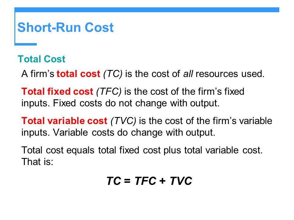 Short-Run Cost TC = TFC + TVC Total Cost
