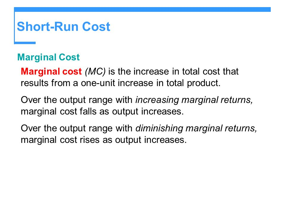 Short-Run Cost Marginal Cost
