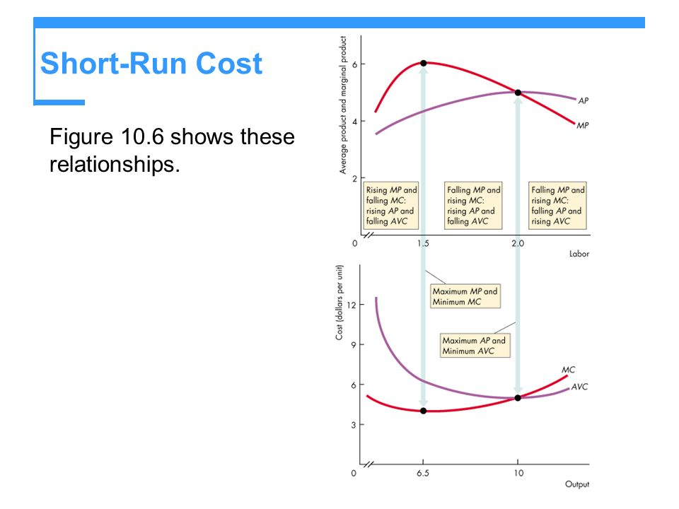 Short-Run Cost Figure 10.6 shows these relationships.