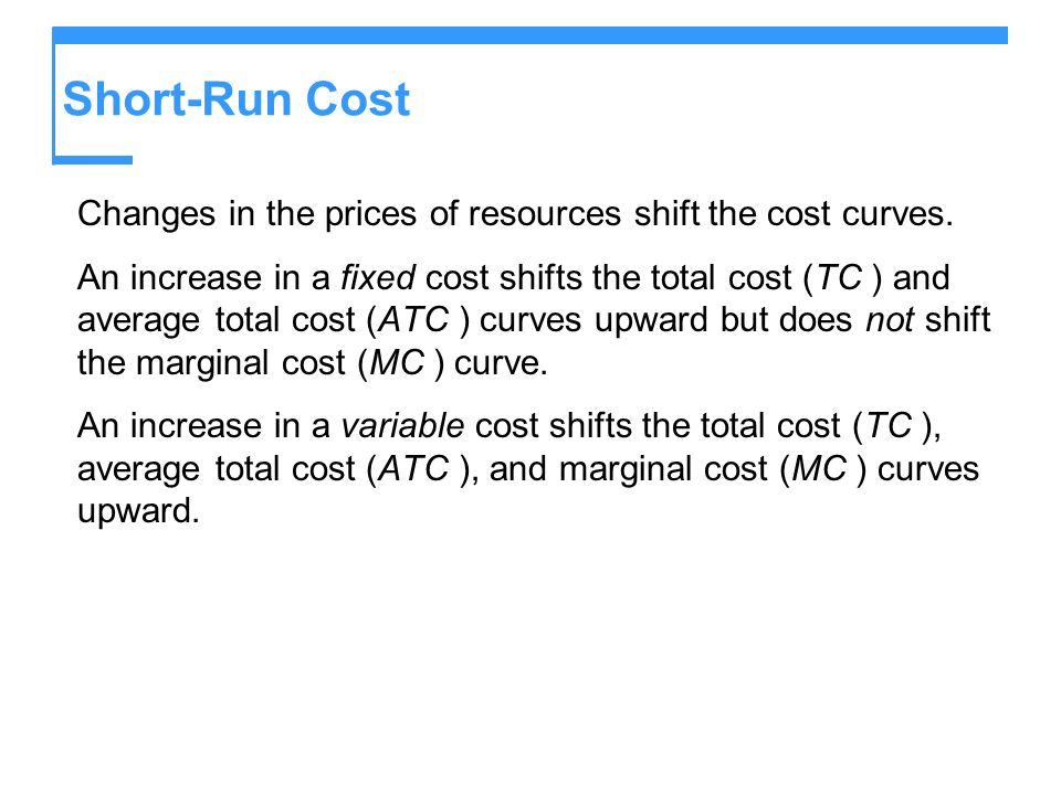Short-Run Cost Changes in the prices of resources shift the cost curves.