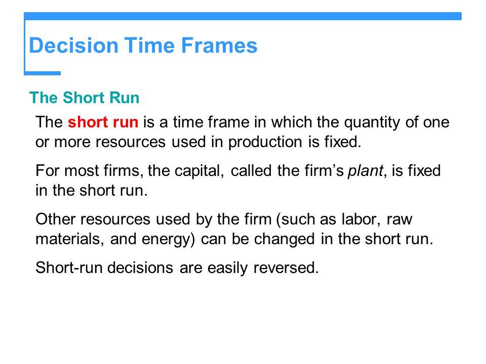 Decision Time Frames The Short Run