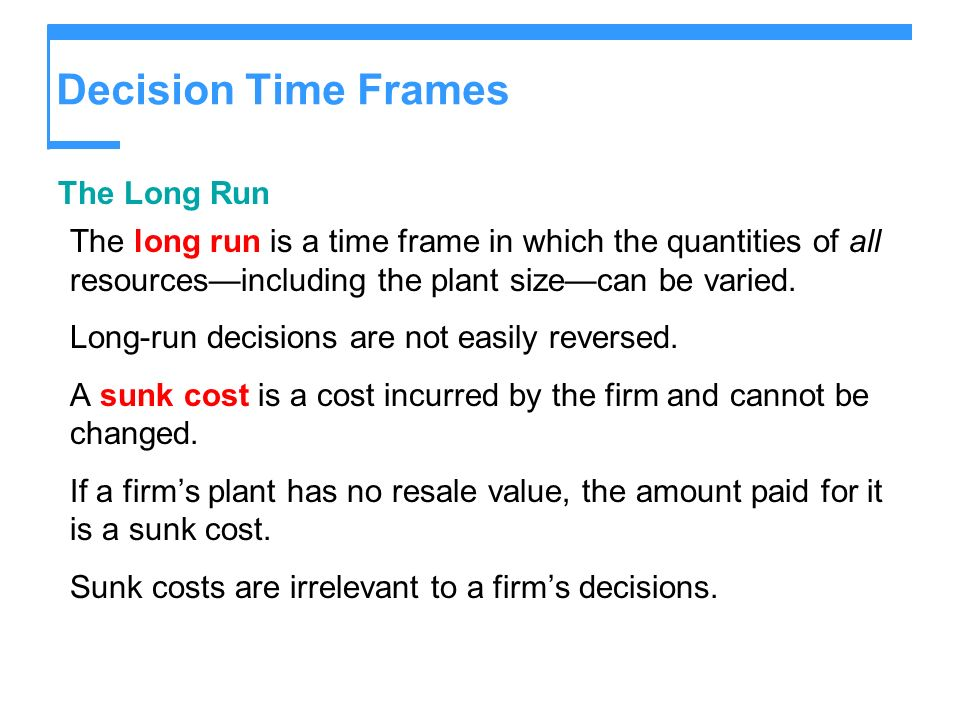 Decision Time Frames The Long Run