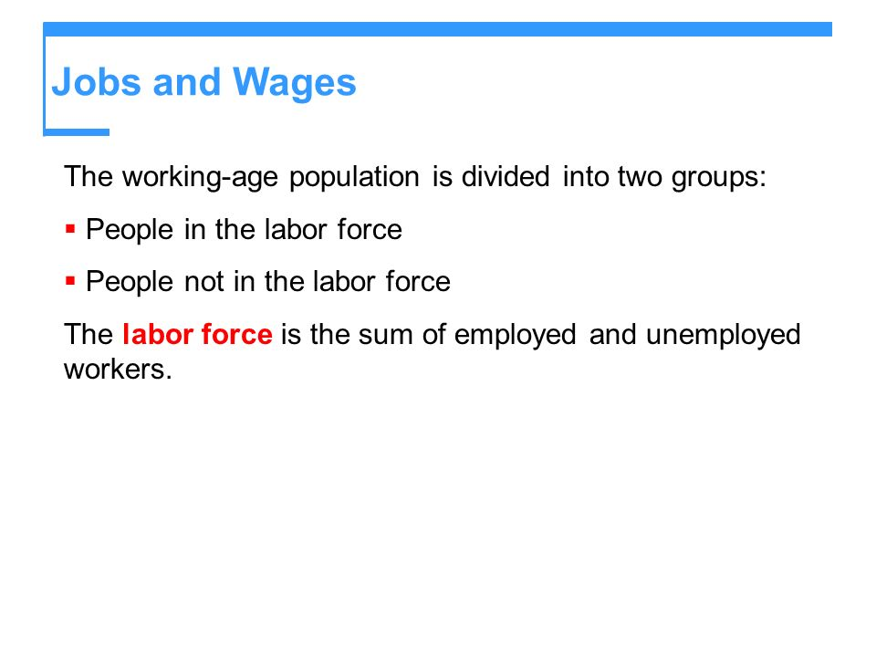 Jobs and Wages The working-age population is divided into two groups: