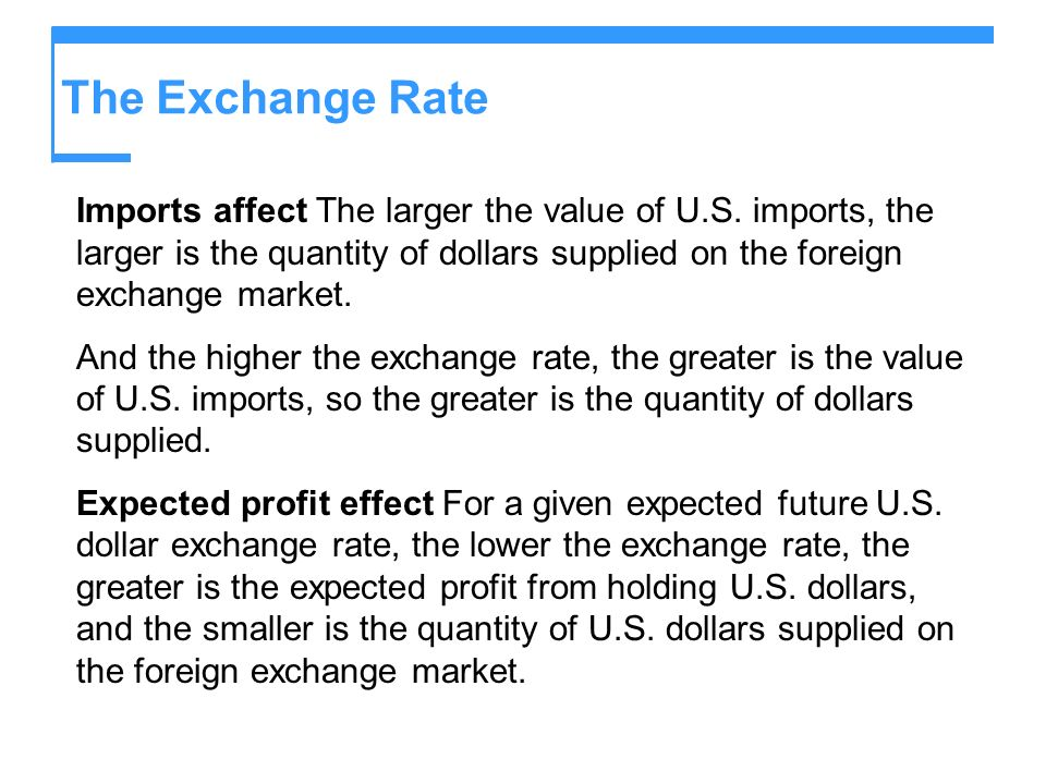 The Exchange Rate Imports affect The larger the value of U.S. imports, the larger is the quantity of dollars supplied on the foreign exchange market.
