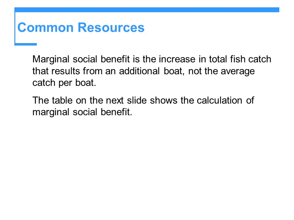 Common Resources Marginal social benefit is the increase in total fish catch that results from an additional boat, not the average catch per boat.