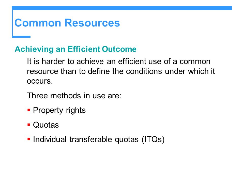 Common Resources Achieving an Efficient Outcome