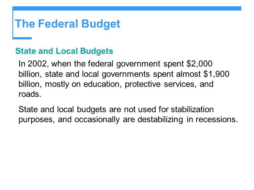 The Federal Budget State and Local Budgets