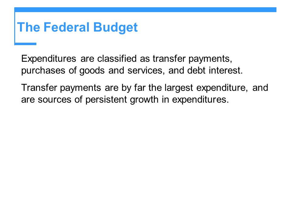 The Federal BudgetExpenditures are classified as transfer payments, purchases of goods and services, and debt interest.