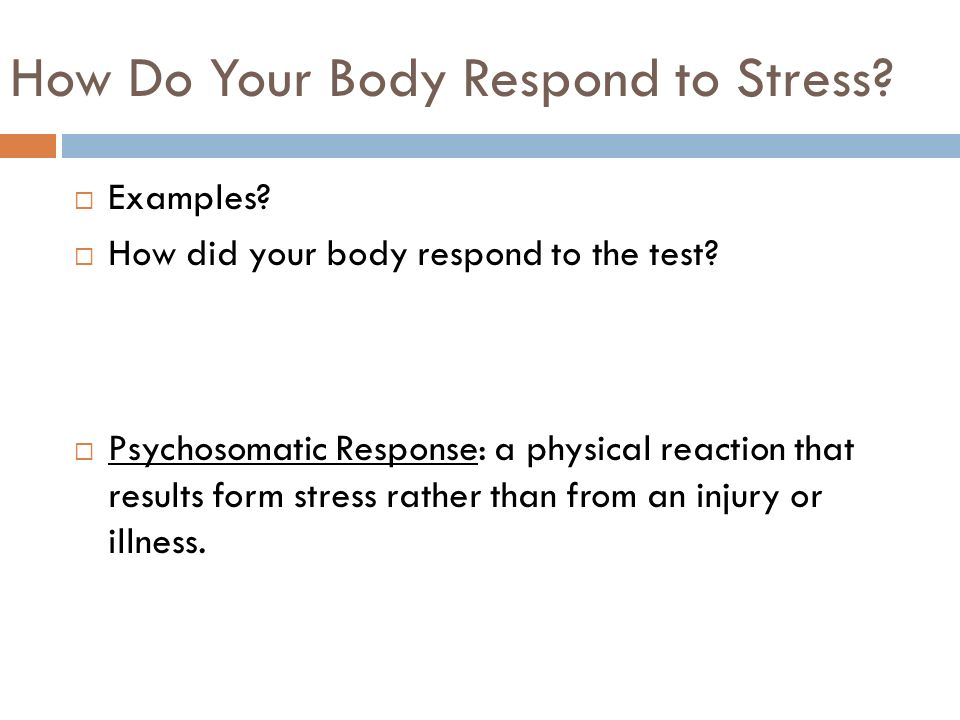 examples of physical stress A number of symptoms can be indicative of stress in our life knowing these physical effects of stress is important in order to identify and overcome it.