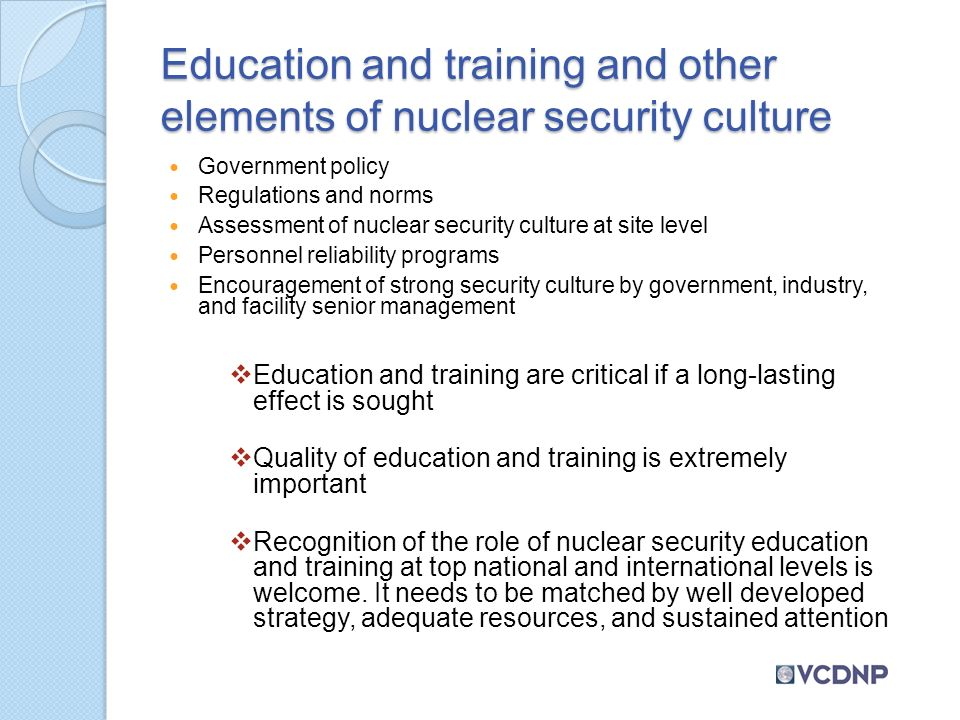 building nuclear security culture through education and