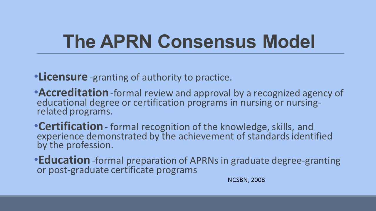 Bmclear dnp fnp c acnp bc georgia regents university ppt 3 the aprn consensus model xflitez Choice Image