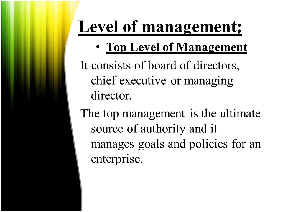 Top Level of Management