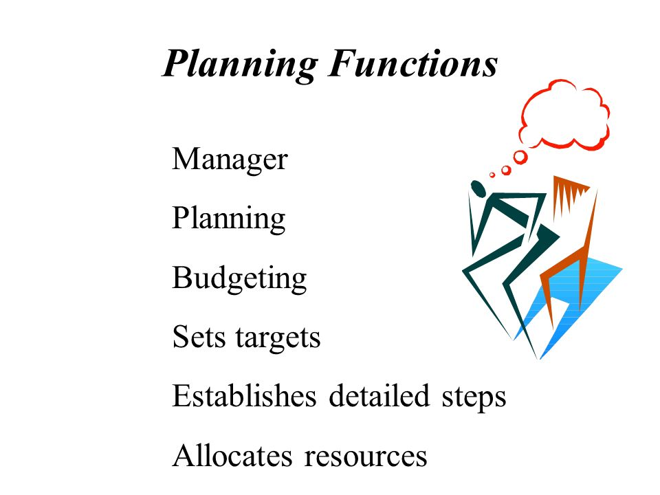 Planning Functions Manager Planning Budgeting Sets targets