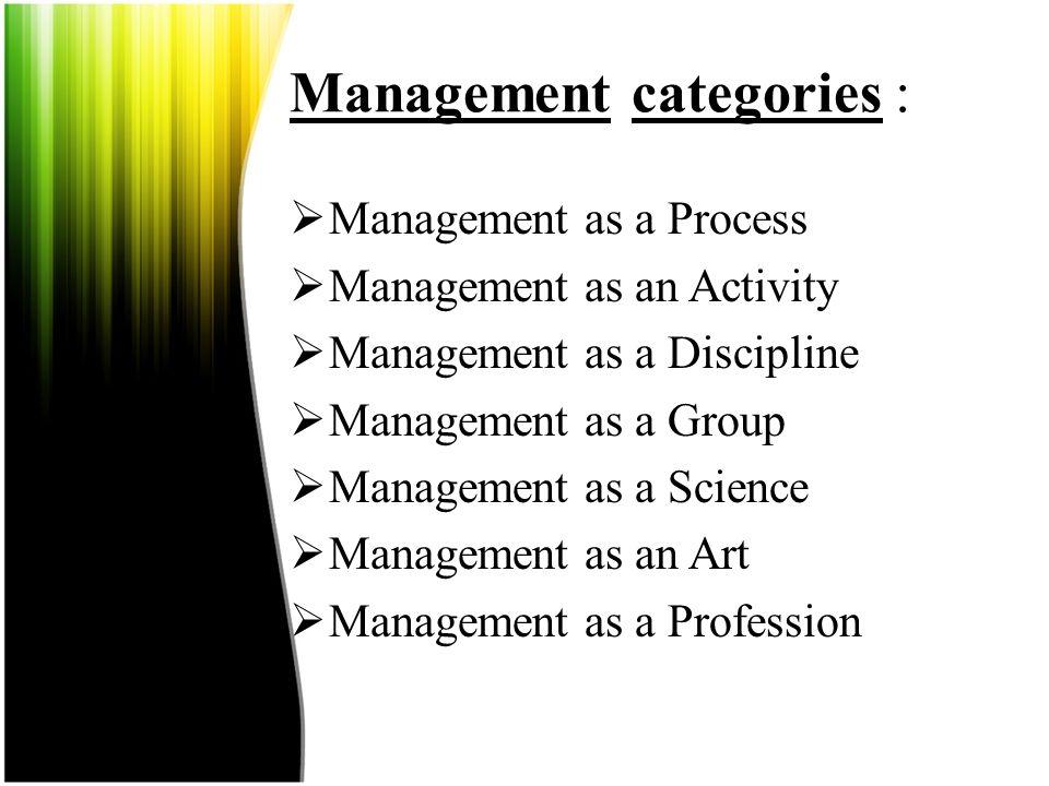 Management categories :