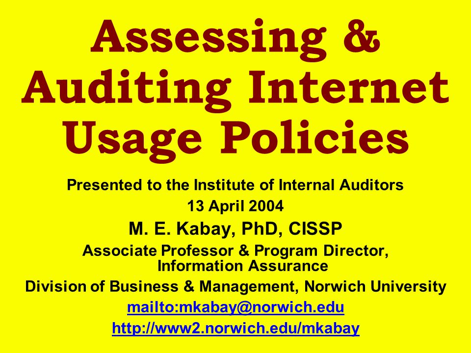 Assessing & Auditing Internet Usage Policies