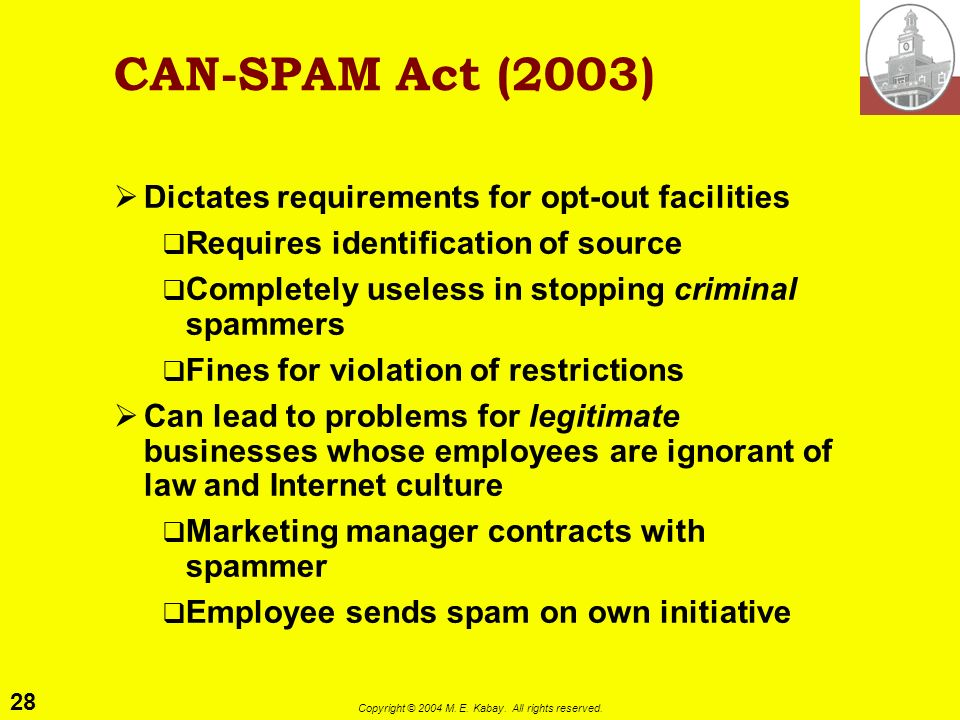 CAN-SPAM Act (2003) Dictates requirements for opt-out facilities