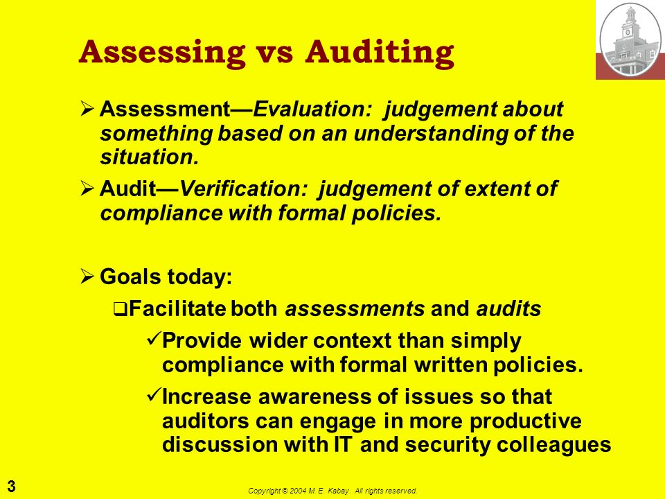 Assessing vs Auditing Assessment—Evaluation: judgement about something based on an understanding of the situation.