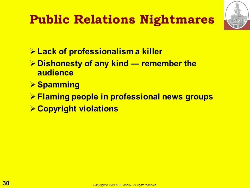Public Relations Nightmares