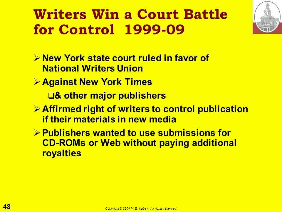 Writers Win a Court Battle for Control 1999-09