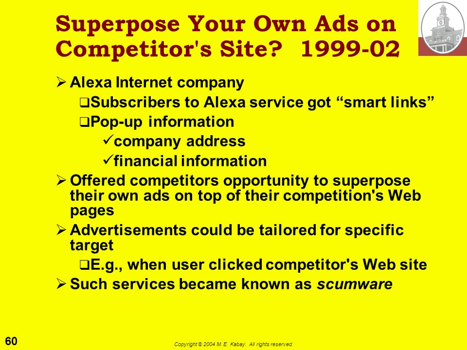 Superpose Your Own Ads on Competitor s Site