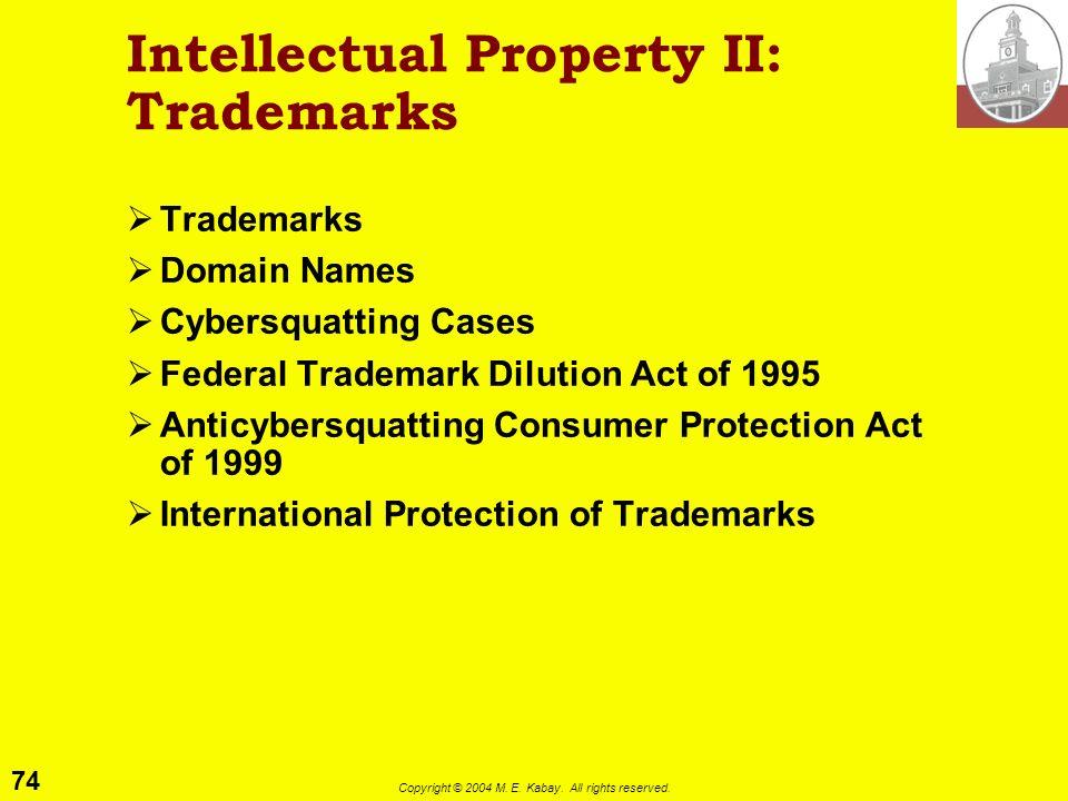 Intellectual Property II: Trademarks