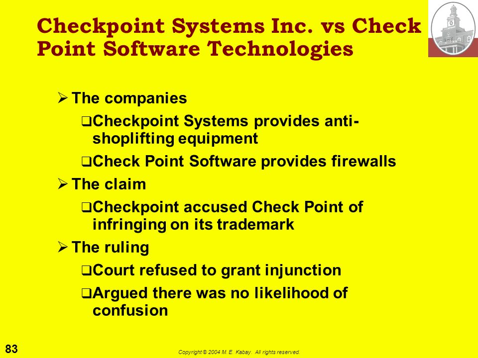 Checkpoint Systems Inc. vs Check Point Software Technologies