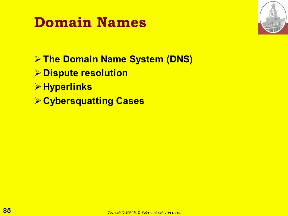 Domain Names The Domain Name System (DNS) Dispute resolution