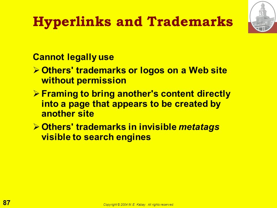 Hyperlinks and Trademarks