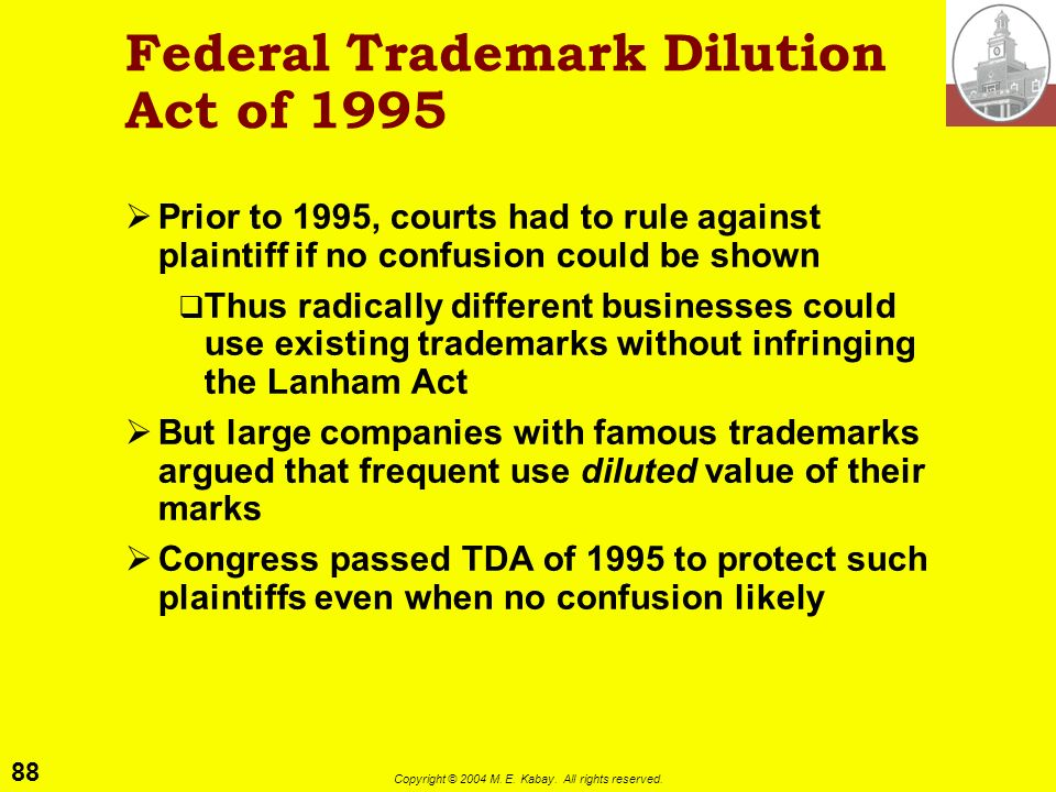 Federal Trademark Dilution Act of 1995