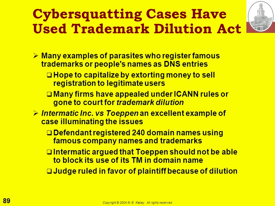 Cybersquatting Cases Have Used Trademark Dilution Act