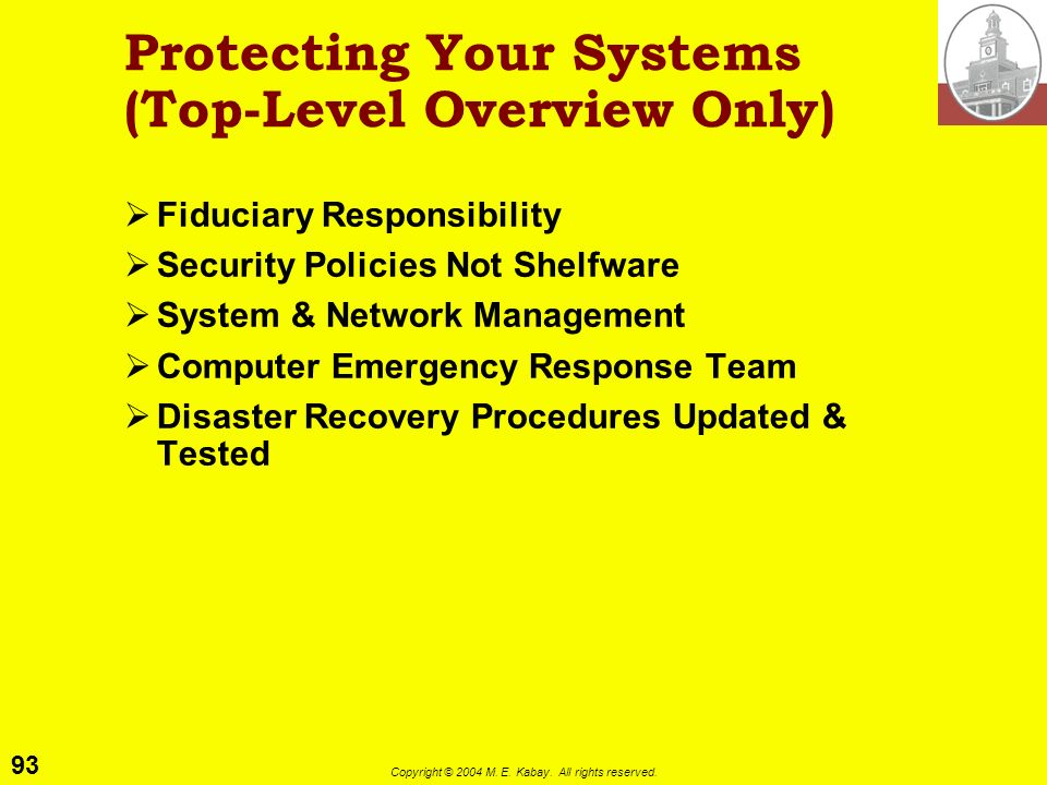Protecting Your Systems (Top-Level Overview Only)