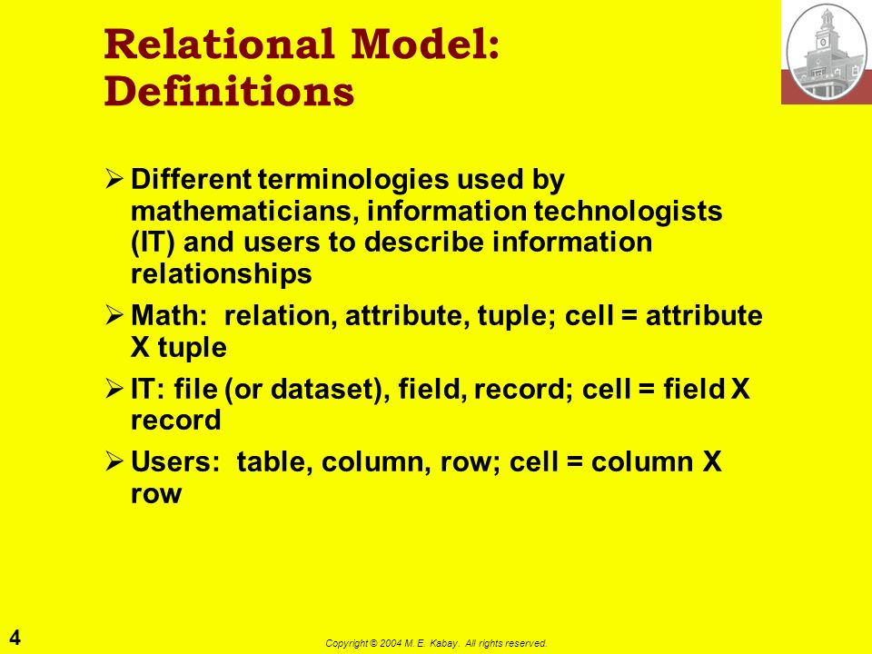 Relational Model: Definitions