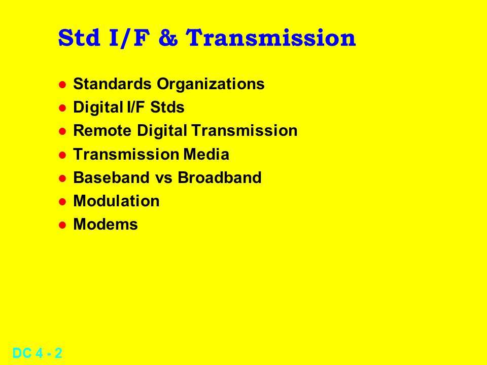 Std I/F & Transmission Standards Organizations Digital I/F Stds