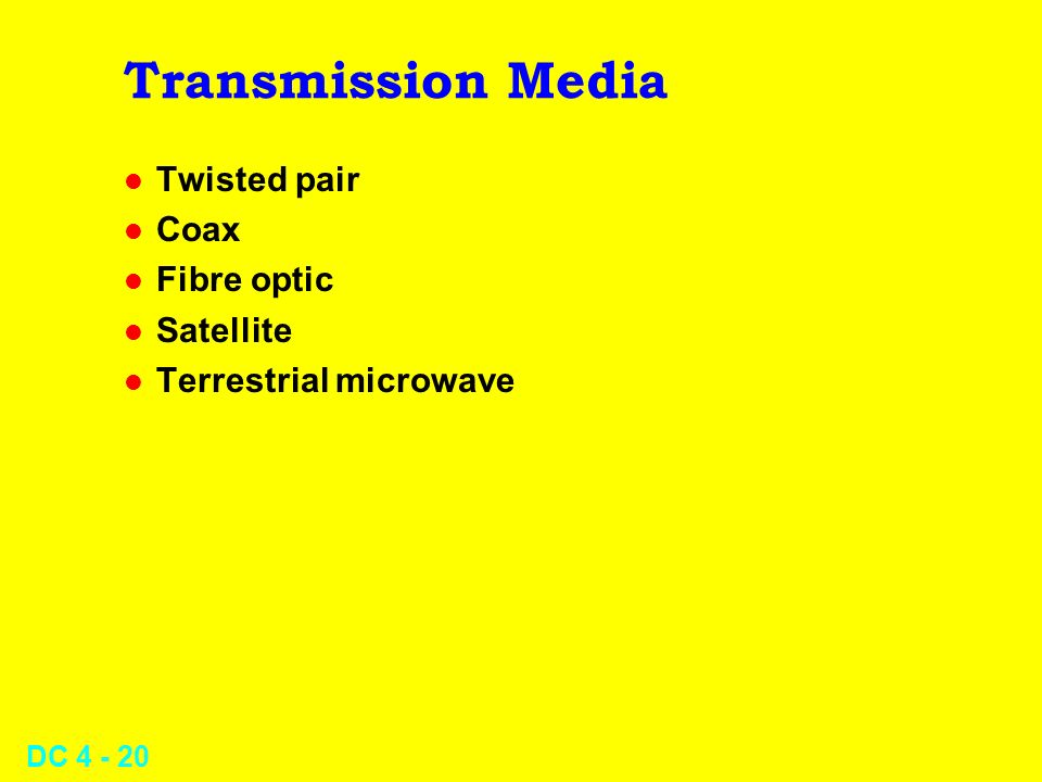 Transmission Media Twisted pair Coax Fibre optic Satellite