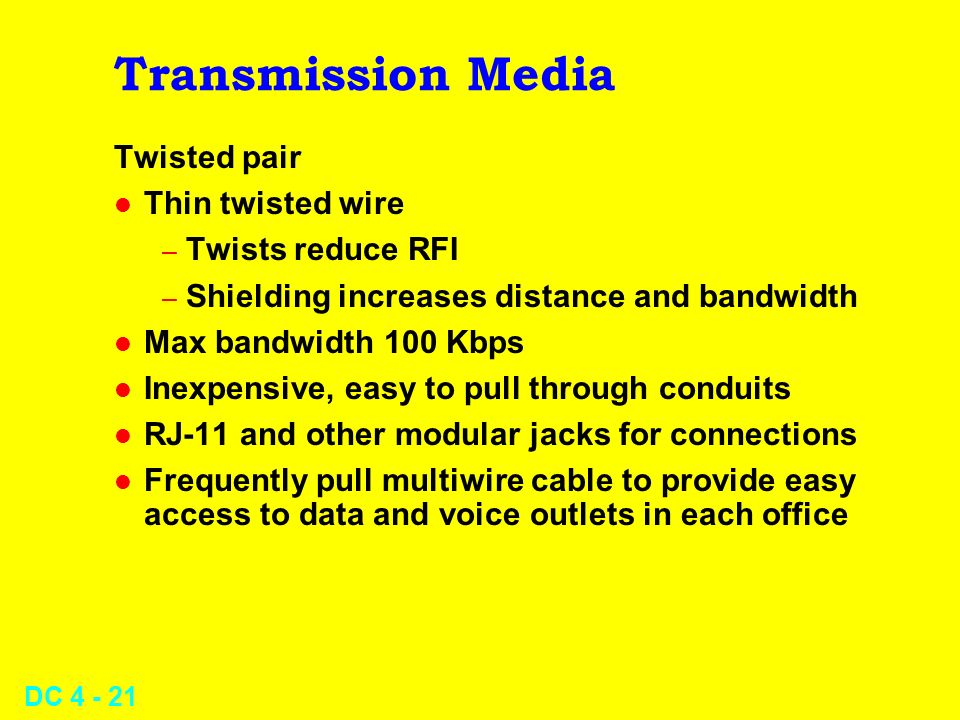 Transmission Media Twisted pair Thin twisted wire Twists reduce RFI