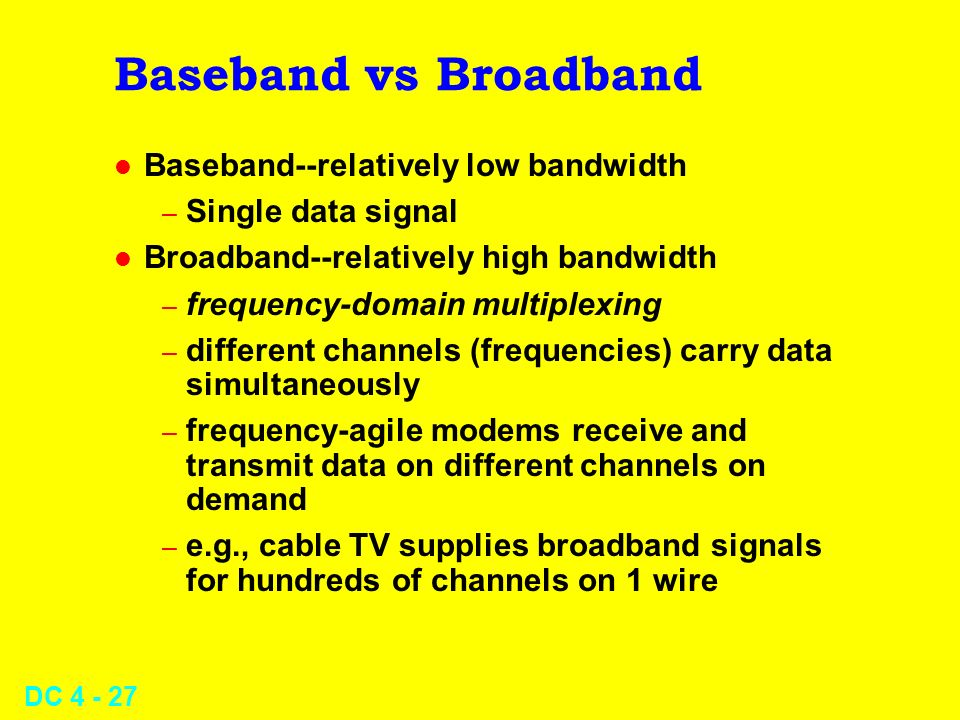 Baseband vs Broadband Baseband--relatively low bandwidth