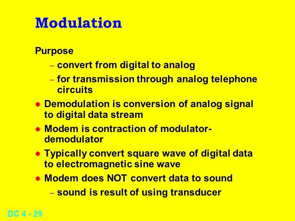 Modulation Purpose convert from digital to analog